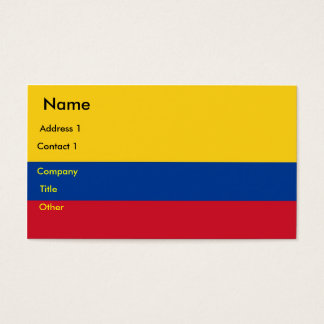 Business Card with Flag of Colombia