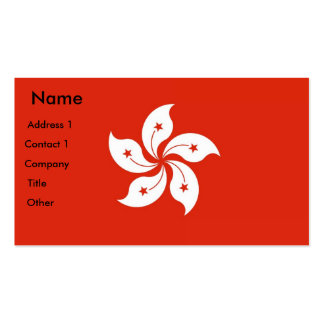 Business Card with Flag of Hong Kong, China