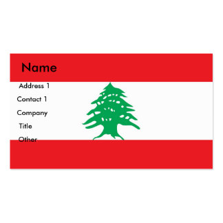 Business Card with Flag of Lebanon