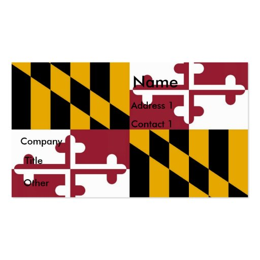 Business Card with Flag of Maryland U.S.A.