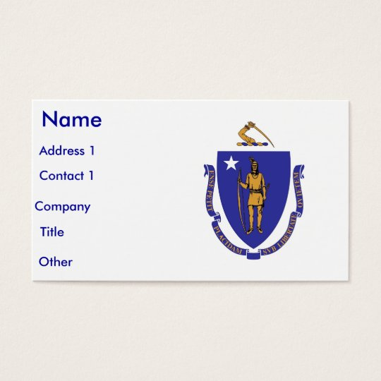 Business Card with Flag of Massachusettes, U.S.A.