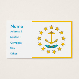 Business Card with Flag of Rhode Island U.S.A.