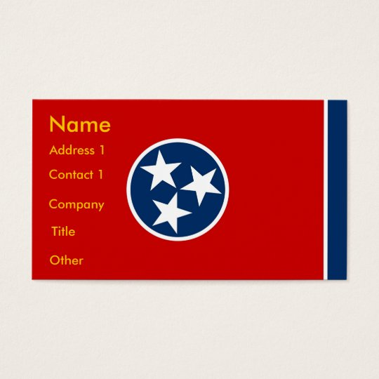 Business Card with Flag of Tennessee U.S.A.