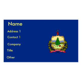 Business Card with Flag of Vermont U.S.A.