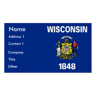 Business Card with Flag of Wisconsin U S A