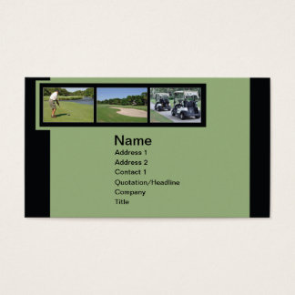 business card with golf photos