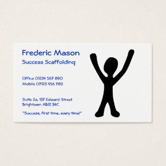 "Business Card with Happy ""Success"" Stick Figure"