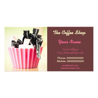 Business Card With Modern Art For Coffee Shop etc Photo Greeting Card