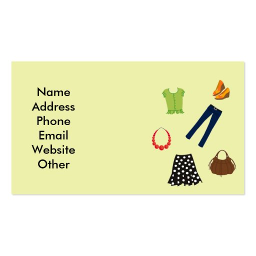 Business card with women39s clothing zazzle for Business cards for women