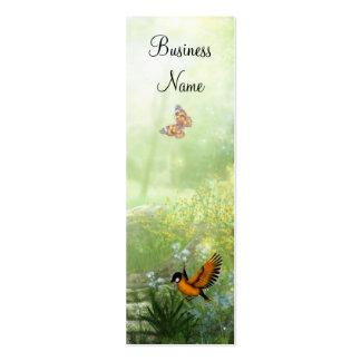 Business Card Yellow Flowers Birds Skinny