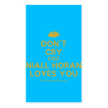 [Two hearts] don't cry coz niall horan loves you  Business Cards