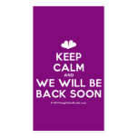 [Two hearts] keep calm and we will be back soon  Business Cards