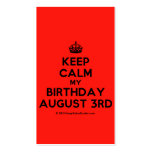 [Crown] keep calm my birthday august 3rd  Business Cards