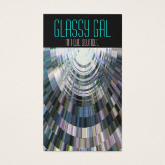 Business Cards Abstract Glassy Gal Disco Ball Blue