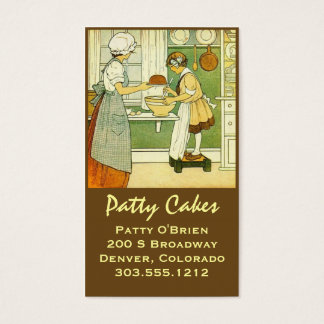 Business Cards Antique Baking Scene