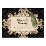 Business Cards - Black Vintage Peacock & Etchings