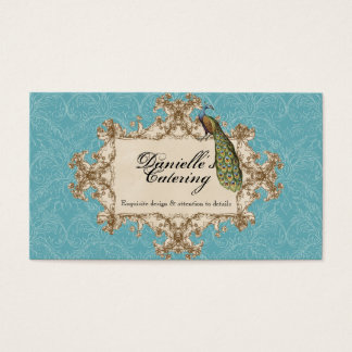 Business Cards - Blue Vintage Peacock & Etchings