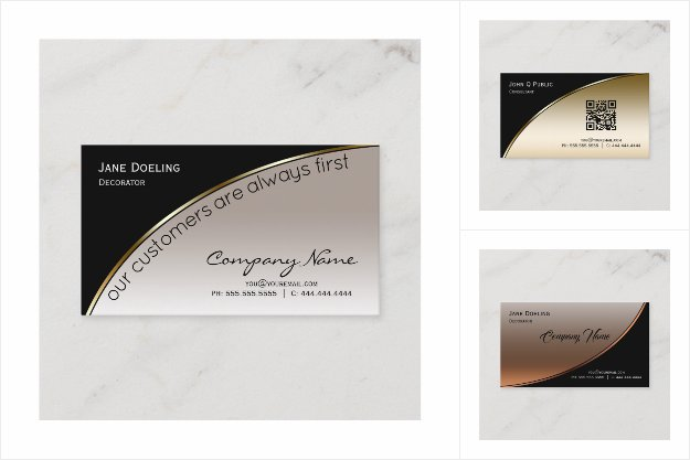 Business Cards - Elegant Faux Metallic JustCards™