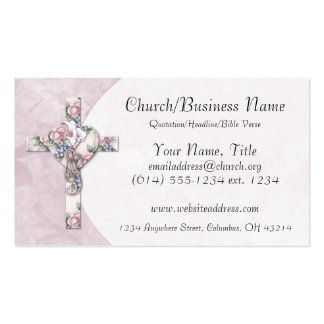 Business Cards: Floral Heart Cross