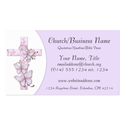Business Cards: Pink/Purple Cross with Butterflies