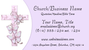 Minister business cards zazzle business cards pinkpurple cross with butterflies business card colourmoves