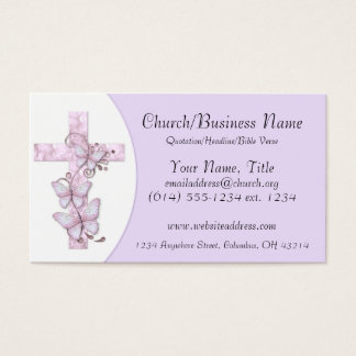 Business Cards: Pink/Purple Cross with Butterflies Business Card