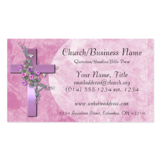 Business Cards: Purple Cross with Pink Flowers