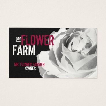 Professional Business Business Cards Rose Photo Flower White Template