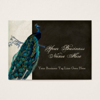 Business Cards - Teal Vintage Peacock 8 & Etchings