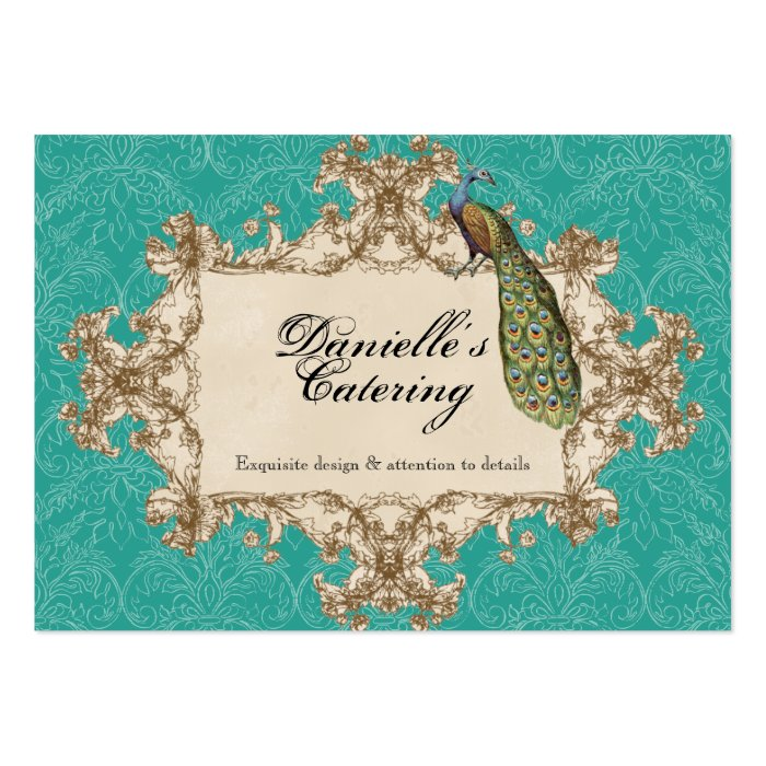 Business Cards - Teal Vintage Peacock & Etchings