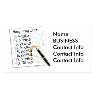 BUSINESS CARDS - VODKA SHOPPING LIST