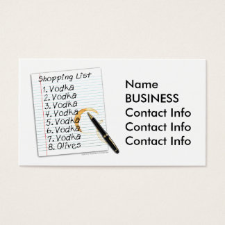 BUSINESS CARDS - VODKA SHOPPING LIST