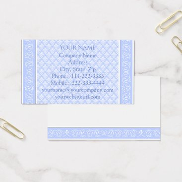 Professional Business Business Cards - Wedgewood Blue Damask
