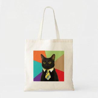 Business Cat Advice Animal Meme Tote Bags