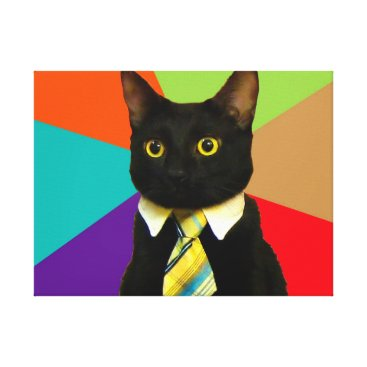 Professional Business business cat - black cat canvas print