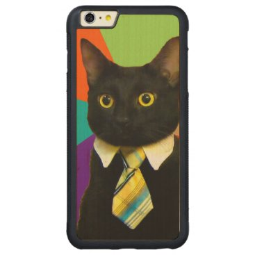 Professional Business business cat - black cat carved maple iPhone 6 plus bumper case
