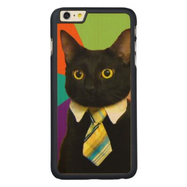 Professional Business business cat - black cat carved maple iPhone 6 plus case