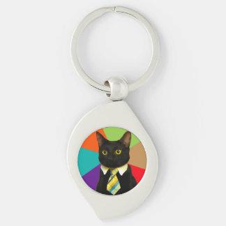 business cat - black cat keychain