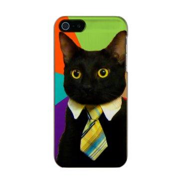 Professional Business business cat - black cat metallic phone case for iPhone SE/5/5s