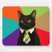 business cat - black cat mouse pad