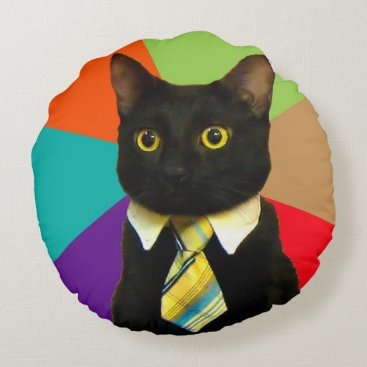Professional Business business cat - black cat round pillow