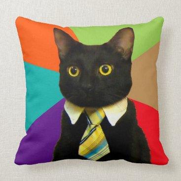 Professional Business business cat - black cat throw pillow