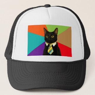business cat - black cat trucker hat