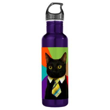 Professional Business business cat - black cat water bottle
