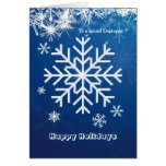 Business Christmas Employee - white snowflakes on Greeting Cards