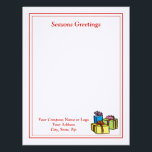 """Business Christmas Letterhead - Gifts Design<br><div class=""""desc"""">Customize this fine linen business letterhead with your own company logo and contact information.</div>"""