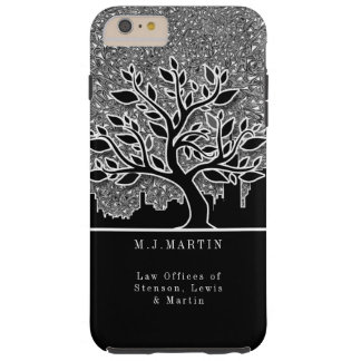 Business City Skyline and Silver Paisley Custom Tough iPhone 6 Plus Case