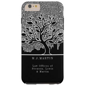 Professional Business Business City Skyline and Silver Paisley Custom Tough iPhone 6 Plus Case