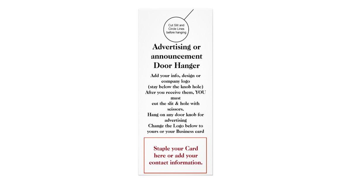 Business Company Door Hanger Brochure Flyer Hanger Rack Card ...