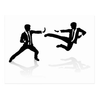 Business Competition Concept People Fighting Postcard